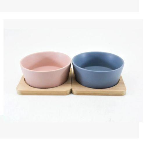 Conjunto 2 Petisqueira com Bandeja em Bambu e Potes Ceramica
