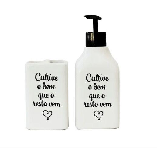 Kit De Banheiro 2 Peças De Cerâmica Cultive O Bem