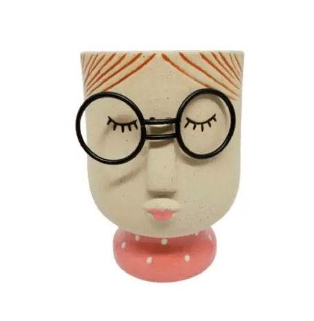 Vasos de Resina Decorativo - Menina de Óculos Tamanho P