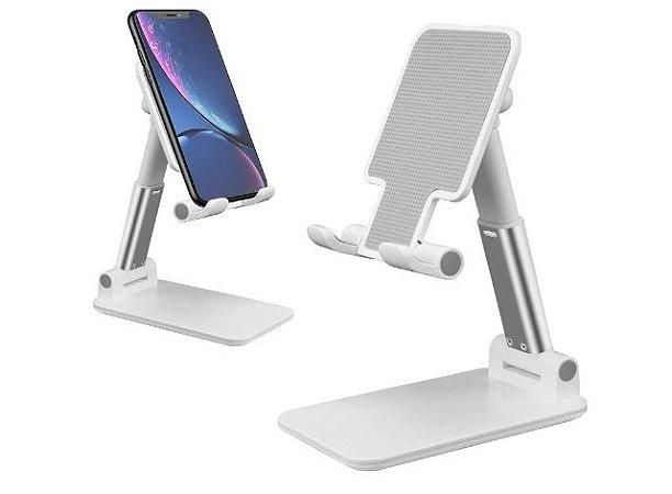 Suporte De Mesa Ajustável Celular Tablet Dobrável Universal Branco