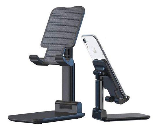 Suporte De Mesa Ajustável Celular Tablet Dobrável Universal Preto