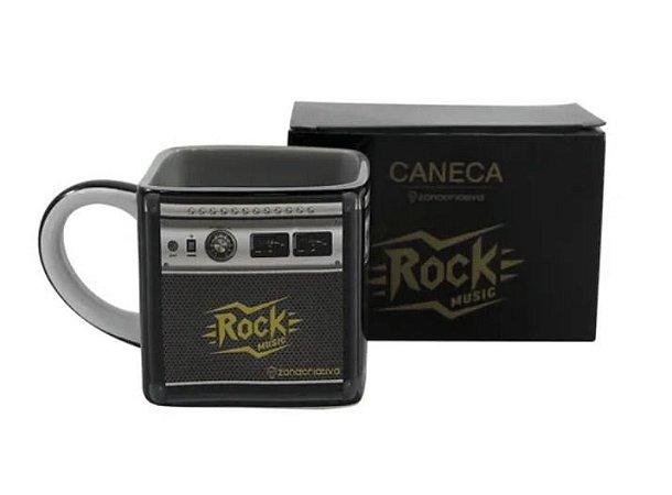 Caneca Quadrada Cubo Amplificador Rock Roll Musica 300ml