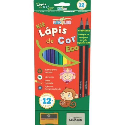Kit Escolar Lapis de Cor Eco 12 Cores Apontador e Borracha