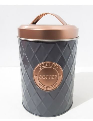 Lata Metal - Geometric Handle Coffe Cinza
