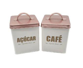 Porta Café e Açúcar Metal Galvanizado