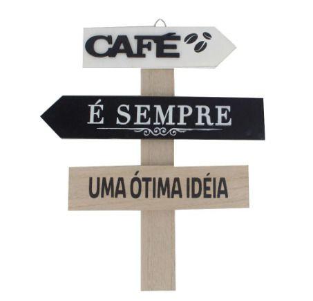 Placas Decorativas de Madeira - Café