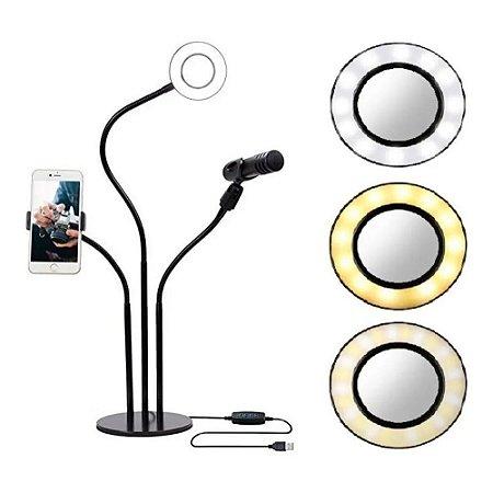Ring Light + Suporte Pedestal P/ Microfone + Suporte Celular