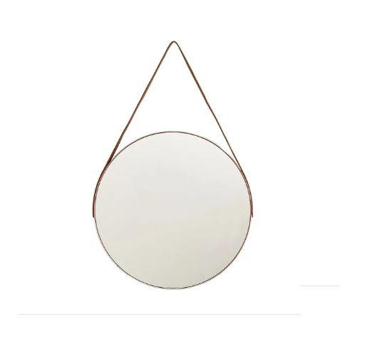 Espelho Redondo Grande 45cm Decorativo com Alça Suporte
