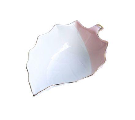 Bowl de Porcelana Folha Branco e Rosa com Borda Dourada