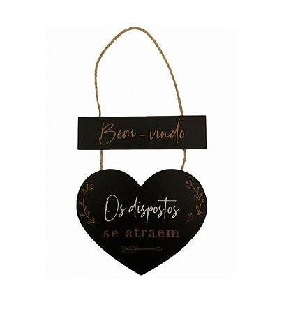 Placa Decorativa- Bem Vindo Coração Preto