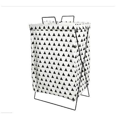 Cesto Organizador Multiuso Tecido Impermeável Suporte Metal Dobrável