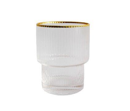 Copo de Vidro Canelado Borda Dourada 200ml