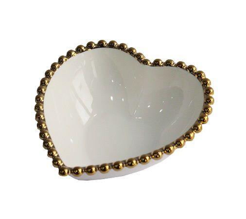 Bowl de Coração com borda em dourado Decorativo
