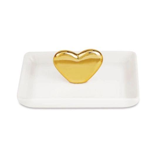 Porta-Jóias Coração em Cerâmica Branco e Dourado