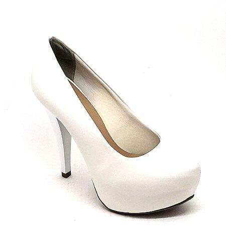 Sapato Hellen Suzan Meia Pata Salto 12 Napa Branca