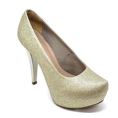 Sapato Hellen Suzan Meia Pata Salto 12 Gliter Dourado