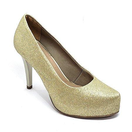 Sapato Hellen Suzan Meia Pata Salto 9 Gliter Dourado
