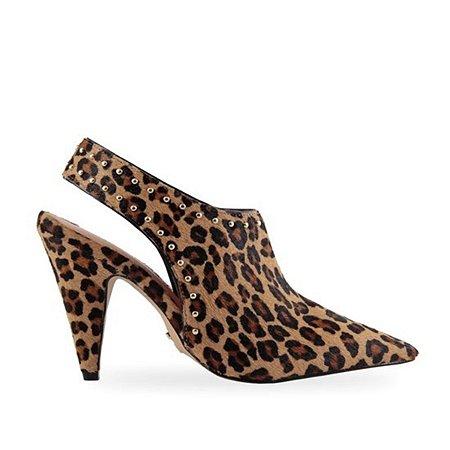 Sapato Carrano Couro Pêlo Animal Print Leopardo