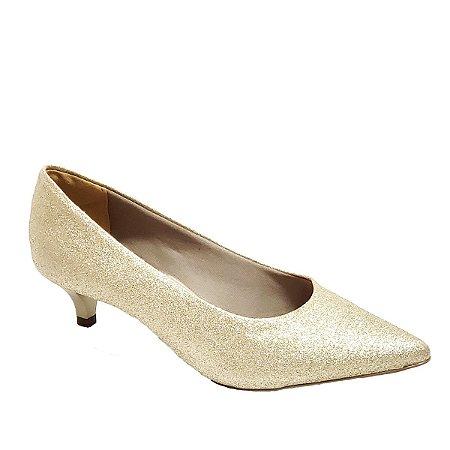 Sapato Hellen Suzan Bico Fino Salto 3 Gliter Dourado