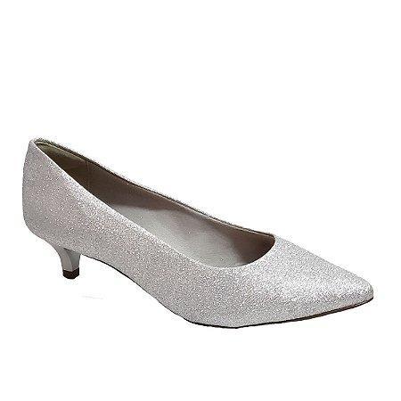 Sapato Hellen Suzan Bico Fino Salto 3 Gliter Prata