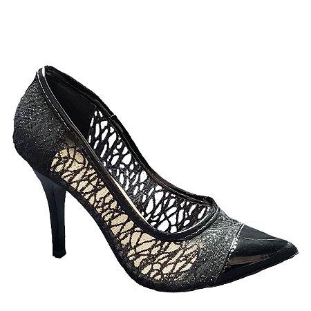 Sapato Hellen Suzan Bico Fino Salto 9 Tela Com Gliter Preto