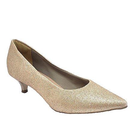 Sapato Hellen Suzan Bico Fino Salto 3 Gliter Cobre