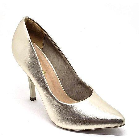 Sapato Hellen Suzan Bico Fino Salto 9 Ipanema Dourado