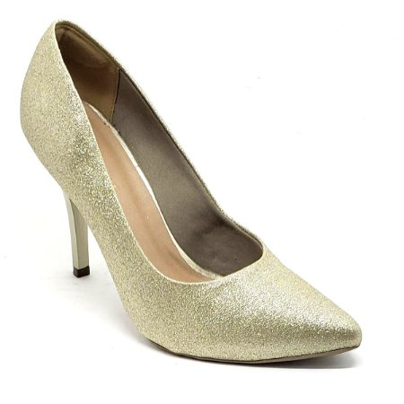 Sapato Hellen Suzan Bico Fino Salto 9 Gliter Dourado