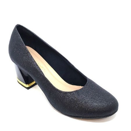 Sapato Hellen Suzan Salto Bloco Baixo Gliter Preto