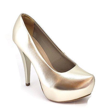 Sapato Hellen Suzan Meia Pata Salto 12 Ipanema Dourado