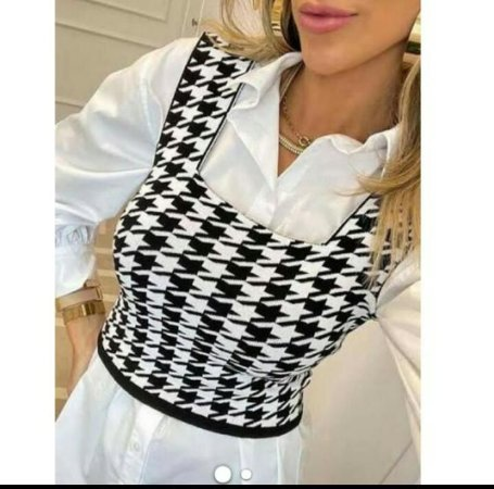 Cropped  Feminino Tricot Modal Xadrez