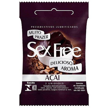 Preservativo Masculino Aroma Açai Com 3 Unid. Sex Free