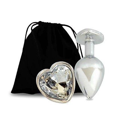 Plug Anal Em Alumínio Formato De Coração Com Pedra-Produto:7,5x2,5x2,5 cm Diâmetro: 3 cm Penetráveis: 6,5 cm