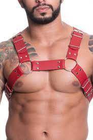 Harness Premium em Couro Sintetico - Vermelho