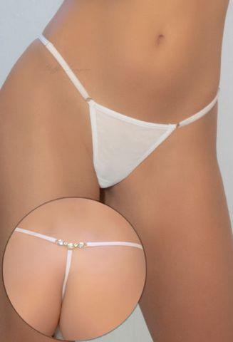 Calcinha Fio Dental Branco Em Tule Com Detalhe De Pedrinhas - Yaffa
