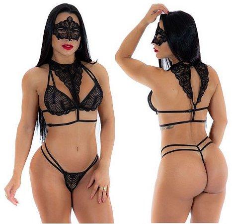 Conjunto Sexy Dama Da Noite Pimenta Sexy-Ajusta Facilmente do Tamanho 36 ao 42