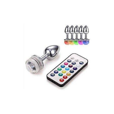 Plug Anal Feito Em Alumínio (7 x 2,8 cm) Com Luz LED e Controle Remoto