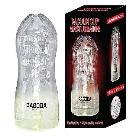 Masturbador  Masculino Lanterna  Pagoda Cyberskin Em Formato De Vagina Cor Transparente 18,0 x 7cm