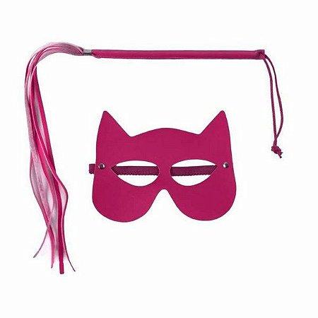Kit Mulher Gato C/ Chicote Fino De Franja  Pink