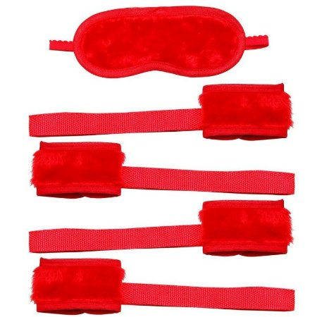 Kit Bondagem e Venda  Em Pelucia  Vermelha