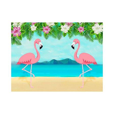 Painel de Festa Reto Flamingo Praia