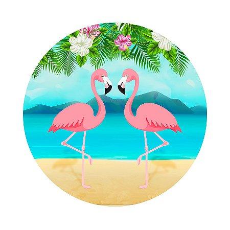 Painel de Festa Redondo Flamingo Praia