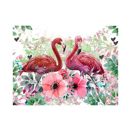 Painel de Festa Reto Flamingo Flores