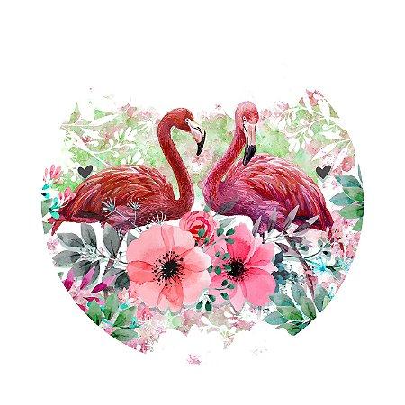 Painel de Festa Redondo Flamingo Flores