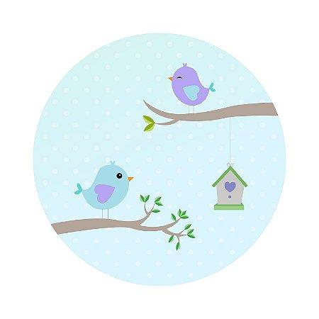 Painel de Festa Redondo Pássaros Fundo Azul