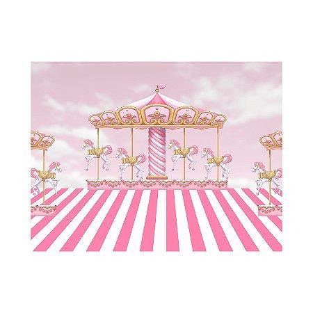Painel de Festa Reto Carrossel Rosa