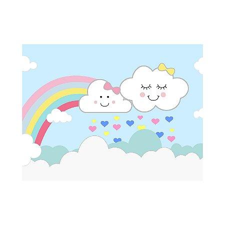 Painel de Festa Reto Nuvens Arco-íris