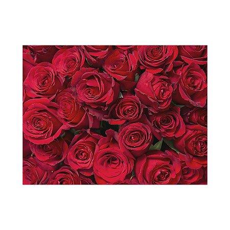 Painel de Festa Reto Rosas Vermelhas