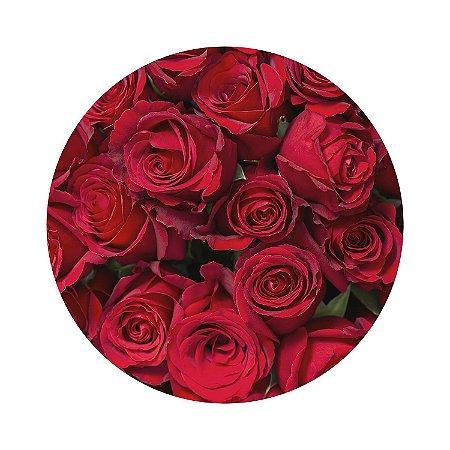 Painel de Festa Redondo Rosas Vermelhas