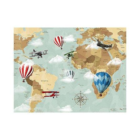 Painel de Festa Reto Mapa-múndi Balões
